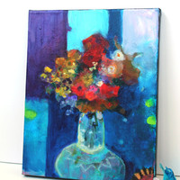 "Modern Floral Abstract Art on Canvas Original Painting Colorful Acrylic ""Flowers in a Vase"""