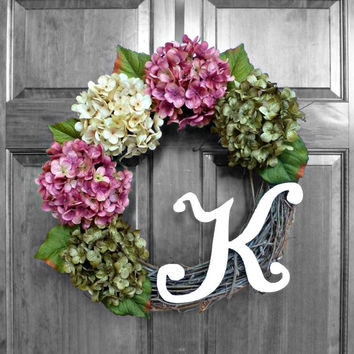 Summer Wreath - Hydrangea Wreath - Front Door Wreaths - Monogrammed Wreath - Front Door Decoration - Initial Wreath - Housewarming