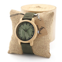 BOBO BIRD Mens Natural Wood Bamboo Watches Womens Vintage Wooden Watch With Army Green Canvas Band