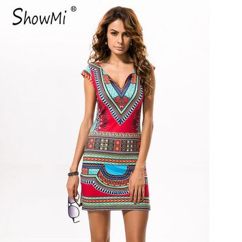 ShowMi 2017 Short V-neck Sexy African Dresses for Women Ladies Dashiki Dress Traditional Print Mini Womens Summer Beach Dress