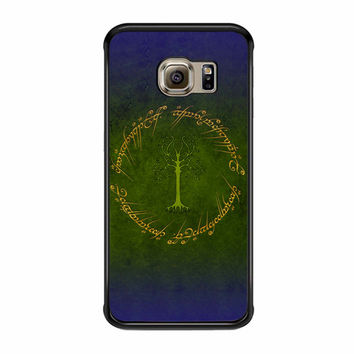 White Tree In Lord Of The Rings Circle Script Samsung Galaxy S6 Edge Case