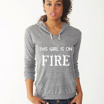 This Girl is On Fire Hoodie Sweatshirt Workout Hoodie    Crossfit Hoodie Workout Sweatshirt