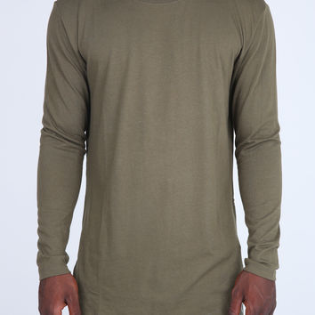 The Costa Zipper Long Sleeve Long Tee in Olive