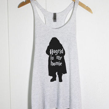 Hagrid Is My Homie Tank Top in Heather White -Harry Potter shirt tee - Literary tee t-shirt gift - Book Lover gift / JK Rowling-Cup of tee