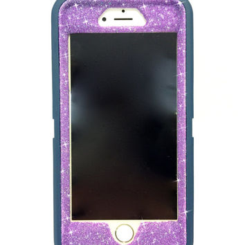 iPhone 6 Plus OtterBox Defender Series Case Glitter Cute Sparkly Bling Defender Series Custom Case  Deep water blue / purple