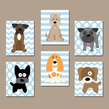 DOG Nursery Wall Art, CANVAS or Prints, Baby Boy Nursery Decor, Puppy Art, Boy Bedroom Decor, Dog Theme, Dog Pictures, Set of 6 Boy Decor