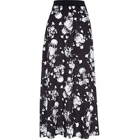 River Island Womens Black floral print maxi skirt