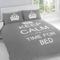 SUPERB COTTON USA QUEEN (230 X 220CM - UK KING SIZE) BED GREY TEENAGER KEEP CALM ITS TIME FOR BED COTTON REVERSIBLE DUVET SET COMFORTER COVER:Amazon:Everything Else