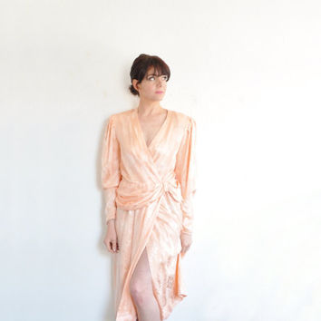 peach 1940 style silk dress . draped bow waist . for lounge singers and such as .small