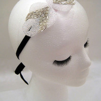 1920s/1930s inspired flapper Great Gatsby Downton Abbey Boardwalk Empire art deco silver white beaded headband fascinator