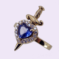 Solid 9ct Yellow Gold Heart and Dagger Ring with Sapphire and White Diamonds