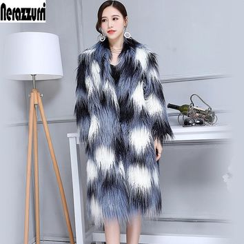 Winter Faux Fur Coat Women V-Neck Long Shaggy Fluffy Colorful Female Lamb fur Fake Mongolian Sheep Fur Jacket Plus Size 6xl 7xl