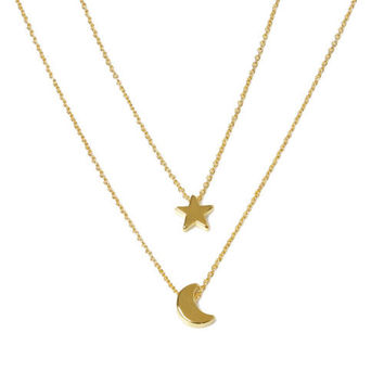 Celebrity Inspired Silver or Gold Moon and Star Pendant Two Layer Necklace