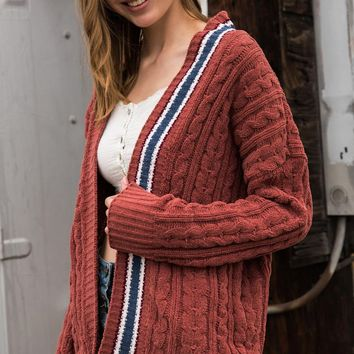 Woven Contrast Cardigan - Ginger by POL Clothing