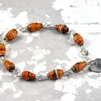 Handmade Paper Bead Bracelet Orange Striped Multicolour Recycled Jewellery with Heart Charm Made in Australia