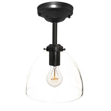 Clear Blown Glass Bell Downrod Pendant Light- Black