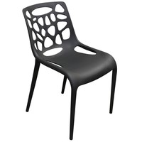 Ocean 4-Pack Indoor/Outdoor Accent Chairs in Black Polypropylene (PP)