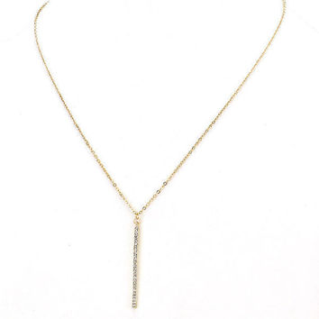 Dainty Long Skinny Gold Rhinestone Vertical Bar Drop Pendant Layering Necklace