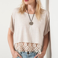 Women's Ivory Crochet Lace Trim Crop Top