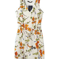 White Floral Printed V-Neckline Racerback Mini Dress