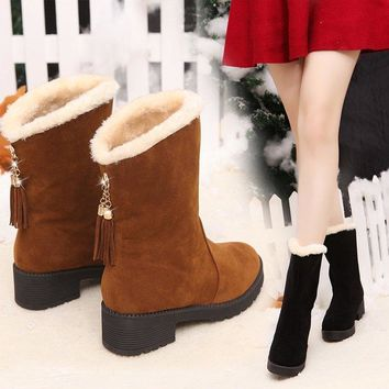 Hot Deal On Sale Height Increase Winter Suede Shoes Boots [47583756295]