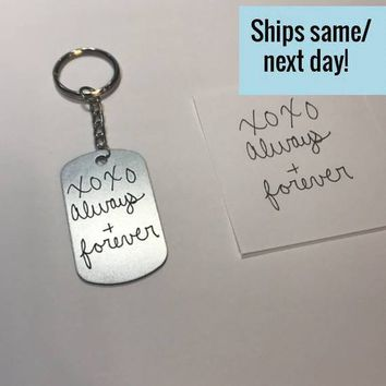 Engraved Handwriting Keychain, Signature Keychain, Engraved Signature Handwriting, Engraved Dog Tag Keychain, Custom Handwriting Keychain
