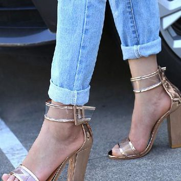 Women Boho High Heels Shoes Summer Women Sandals SIZE US4-US12 Nude
