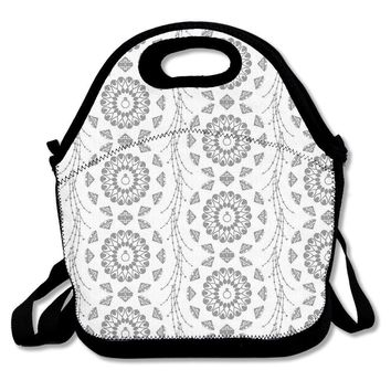 Ryskeco Flower Lines Pattern Portable Reusable Lunch Tote Bags For Women, Teens, Girls, Kids, Baby, Adults,Work, Office, School Or Gym