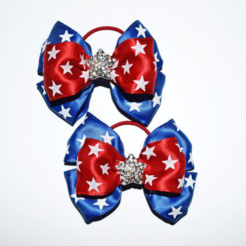 4th of July hair bows - pigtail bows pair - red white and blue - patriotic hair bows - fourth of July - July 4th toddler - ponytail hair bow