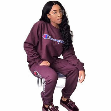 Champion Women Printed Letter Tracksuit Causal Purple Lace up Shrink Waist Jumpsuit O-Neck Loose Long Sleeves Ladies Jumpsuits