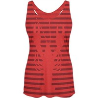 LMFCY8 Lobster Navy Nautical Stripes Womens Soft Racerback Tank Top