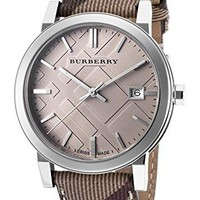 Burberry Embossed Beige Dial Stainless Steel Leather Quartz Ladies Watch BU9029
