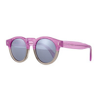 Illesteva Leonard Mirror Round Sunglasses, Purple/Gray Stripes