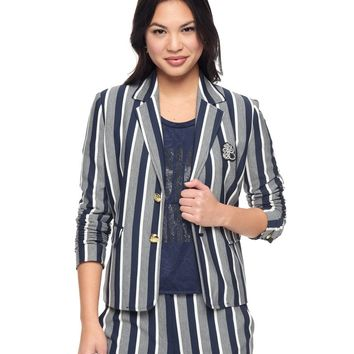 Hot Prestige-Regal-White Wash Stripe Ponte Jacket by Juicy Couture,