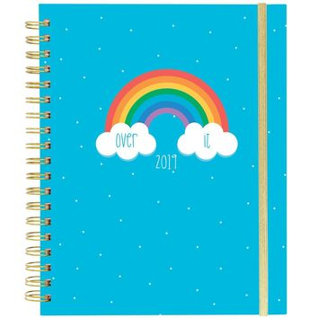 Over It Large Wiro Agenda 2019 Planner with Rainbow in Blue
