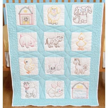 "Barnyard Friends Jack Dempsey Stamped White Nursery Quilt Blocks 9""X9"" 12/pkg"