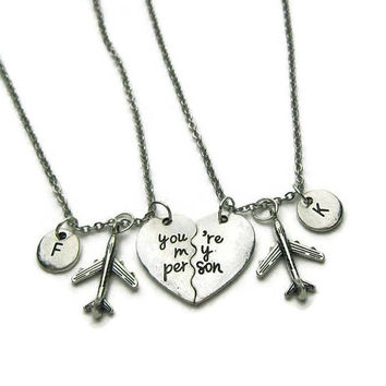2 Best Friends Necklaces, You're My Person Necklaces, Airplane Necklaces, Long Distance Best Friends Necklaces,BFF Necklaces,Personalized
