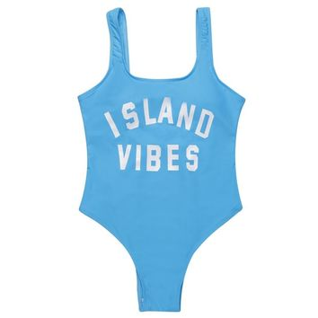 Island Vibes - Women's Sporty U-neck One-Piece Swimsuit - Backless, Padded