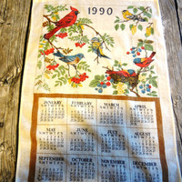 1990 Calendar Tea Towel  / Cottage Chic / Kitchen Decor / Wall Hanging