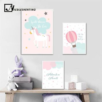 Baby Girl Nursery Wall Art Canvas Posters Prints Cartoon Unicorn Painting Nordic Kids Decoration Picture Children Bedroom Decor