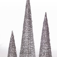 "Set of 3 Glittered Sequin Tree  - 12"" - 18"" - 24"" - Silver"