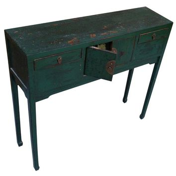 Pre-owned Green Distressed Asian Console Table