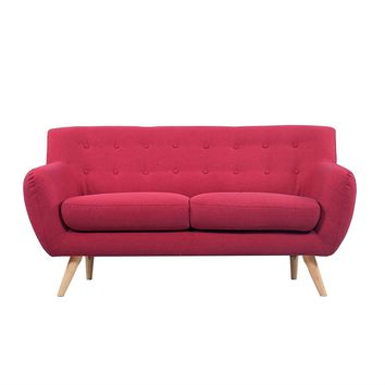 Modern Red Linen Upholstered Mid Century Sofa Loveseat