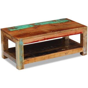 "Coffee Table Solid Reclaimed Wood 35.4"" x 17.7"" x 13.8"""