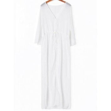 Stylish Solid Color Drawstring Cover-Up For Women