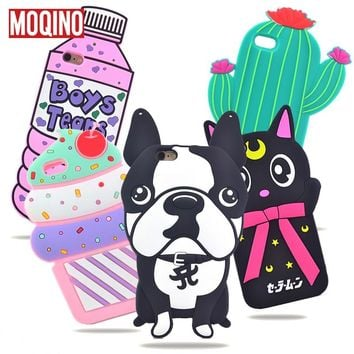 For iPhone 5 5s SE 6 6s 7 8 6P 7Plus 8Plus Cactus Pineapple Cat Dog Stitch Bottle Boys Tears Ice Cream Rose Silicone Cases Cover