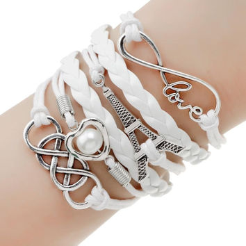 New Christmas Gift Cheap Antique Silver Plated Anchor and Owls Charm Bracelet Wax Cords Leather Braid Bracelets & Bangles