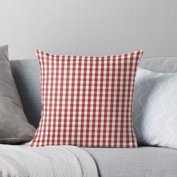'Designer Fall Color Trends 2016 - Aurora Red Gingham Check' Throw Pillow by podartist