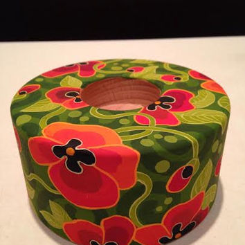 Hand painted candle holder, wooden tealight holder, red and green flamboyant floral design, Armenian art, housewarming gift