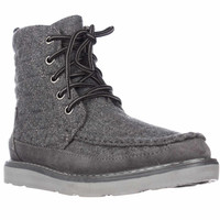 TOMS Searcher Quilted Lace Up Ankle Boots - Grey Wool